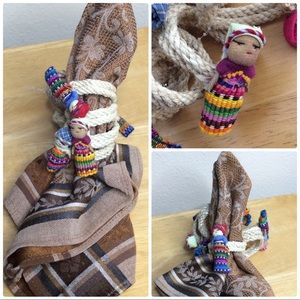 Guatemalan Worry Doll Napkin Rings Set of 8 Party